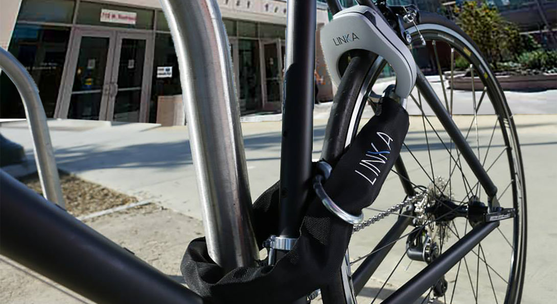 Bike locked to bike rack