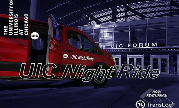 Night Ride van in front of UIC Forum